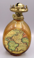 Vintage Made in Hong Kong Amber Glass World Map Oil Lamp