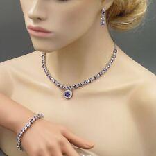 Amethyst Purple Cubic Zirconia Necklace Bracelet Earrings Wedding Jewelry Set 13