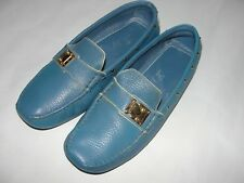 72714ac0f47 Authentic Women Louis Vuitton Pool Blue Leather Loafer  Driving Shoe Sz-36