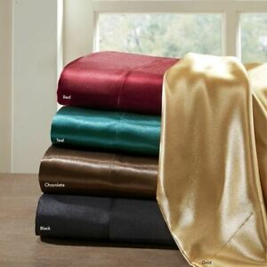 Luxury 6pc Satin Sheet Set - Wrinkle Free - Deep Pockets - 5 COLORS - ALL SIZES