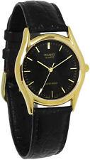 Casio MTP1094Q-1A Mens Black Genuine Leather Casual Dress Watch Gold Case