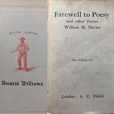 1910 W H. Davies Farewell To Poesy Aneurin Williams Liberal Politician Bookplate