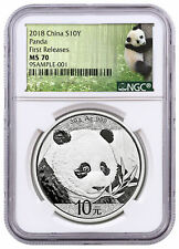 2018 China 30 g Silver Panda ¥10 Coin NGC MS70 FR Panda Label PRESALE SKU50535