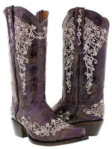 Womens Floral Embroidered Western Boots Rhinestones Purple Real Leather Snip Toe