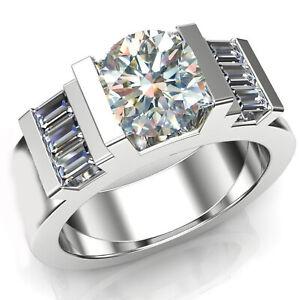 3.30Ct Vvs1>Near White Round Moissanite Diamond & Baguette 925 Silver Men's Ring