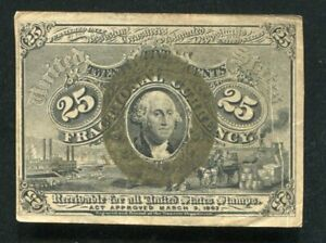FR. 1286 25 TWENTY FIVE CENTS SECOND ISSUE FRACTIONAL CURRENCY NOTE VERY FINE+