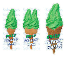 Green Sherbet Whippy Ice Cream Cone Stickers Set of 3 - Single, Twin & Waffle