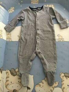 Baby boys NEXT sleepsuit all-in-one romper babygrow size 3-6m navy pinstripe