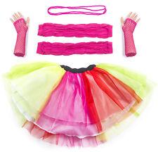 Multi Neon UV Tutu Set Skirt Gloves Leg Warmers Necklace Womens 80s Fancy Dress