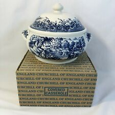 Blue Currier & Ives Casserole w/ Lid Harvest Heritage Mint Churchill England