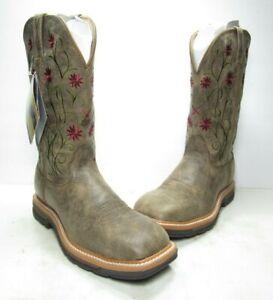 Twisted X Floral Steel Toe Western Work Boots, Women's Size:6.5 Medium (B770)