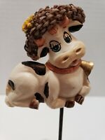 Vintage Candle Holder, Country Cow With Hat. By Magic Creations. Metal votive.