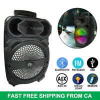 "8"" Portable Bluetooth Speaker System w/ Lights Double Subwoofer Heavy Bass 1000W"