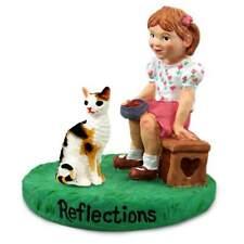 Tortoise & White Cornish Rex Cat with Girl Reflections Figurine