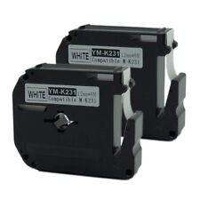 """2 PK Brother M231 MK231 M-K231 P-Touch Tape 12mm 0.47"""" x8m 26.2ft Black on White"""