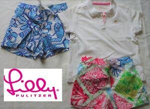 Lilly Pulitzer Girls' Size 5 LOT 50th Jubilee Pattern Shorts & Polo Shirt - EUC
