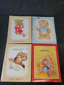 Lot of 4 Critter Sitters Care Bears Mead Portfolio Pocket Folders Vintage 1980s