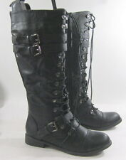 NEW Black Front Lace Up 1 Low Heel Round Toe Sexy Combat KNEE Boot Size 9