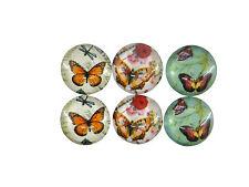 Lot de 6 cabochons 12 mm en verre thème motif papillon 2 par modèle-cab111