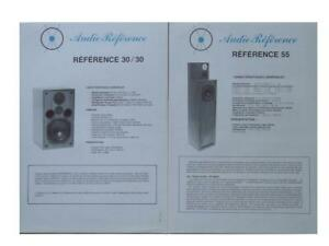"""BROCHURES ENCEINTES AUDIO REFERENCE """"REFERENCE 55"""" """"REFERENCE 30/30"""" 1985"""