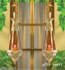 """2 Moroccan 23"""" tall gold amber teardrop hanging Lantern Candle holder terrace"""