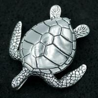 HUGE HEAVY SEA TURTLE LUCK FORTUNE 925 STERLING SOLID SILVER MENS WOMENS PENDANT