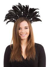 Black Feather Carnival Headdress Mardi Gras Party Fancy Dress Costume Accessory