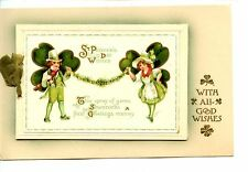St Patrick's Day Holiday Couple-Cute Novelty Greeting Booklet-Vintage Postcard