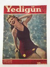 YEDIGUN #698 Turkish Magazine 1940s DOLORES MORAN COVER Gandhi VINTAGE ADS Rare