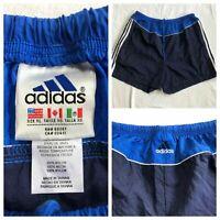 Vintage Men's Adidas 3 Stripe Logo Soccer Blue Shorts Nylon Size X-Large