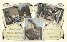 RICHARDSON MINERAL SPRINGS Butte County, CA Fishermen, Hunters ca 1920s Postcard