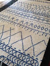 Beni Ourain Moroccan Area Rug  5' X 8'  hand knotted Rug Blue/ white New Soft