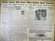 1926 headline newspaper BOBBY JONES WINS his 1st  BRITISH OPEN GOLF TOURNAMENT