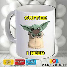Personalised Baby Yoda Coffee mug • Mandalorian • 10oz • Dishwasher Safe