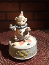 Kitty Cucumber Figurine Kitty Clown Music Box Signed Schmid