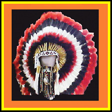 Genuine Native American Navajo Indian Headdress 36 inch CHOCTAW red black white