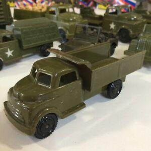 "VINTAGE PYRO HARD PLASTIC MILITARY GREEN USA ARMY DUMP TRUCK  4"" USA"