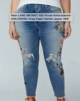 New LANE BRYANT Floral Embroidered GIRLFRIEND Crop Capri Denim Jeans 22 R