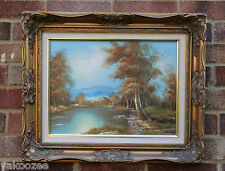 An Oil On Canvas Painting Depicting Trees and Lake Scene Signed #20140128