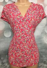 MONSOON 12 Coral Pink Cap Sleeve Floral Crotchet Trim Tunic Blouse Top