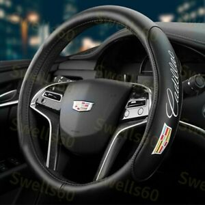 """Black New 15"""" Diameter Car Steering Wheel Cover Genuine Leather For CADILLAC"""