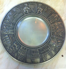 VIntage German Pewter Plate / Dish with famous sights in Bremen, Germany