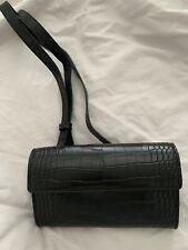 Mango Black Croc Effect Bum Bag Belt Bag Waist Bag