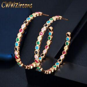 Big Round Rainbow Hoop Earring Gorgeous Colorful Cubic Zirconia Bezel Xmas Gifts