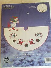 Candamar Designs SNOWMAN TREE SKIRT TABLE TOPPER Counted Cross Stitch Kit NEW
