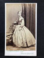 Victorian Carte De Visite CDV Lady: Parisian Photo Co: London: Full Hooped Dress