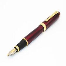 Jinhao X450 Red wine Rotation line Business office Medium Nib Fountain Pen New