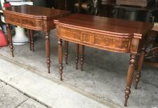 PAIR OF CUSTOM MADE FLAME MAHOGANY CONSOLE GAME TABLES