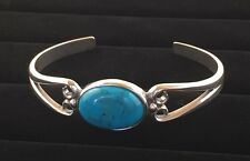 Solid Sterling Silver Cuff Bracelet with 18x13mm Turquoise Gemstone