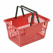 """Plastic Shopping Basket with Plastic Handle, Standard, 17""""L X 12""""W X 9""""H, Red,"""